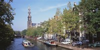Church along a channel in Amsterdam Netherlands Fine Art Print