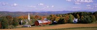 High angle view of barns in a field, Peacham, Vermont Fine Art Print