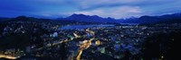 Aerial view of a city at dusk, Lucerne, Switzerland Fine Art Print