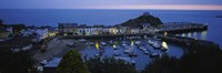 High angle view of boats docked at the harbor, Devon, England Fine Art Print