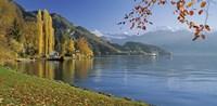 Switzerland, Canton Lucerne, Lake Vierwaldstattersee Vitznau, Panoramic view of mountains around a lake Fine Art Print