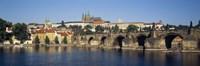 Arch bridge across a river, Charles Bridge, Vltava River, Prague, Czech Republic Fine Art Print
