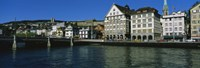 Buildings at the waterfront, Limmat Quai, Zurich, Switzerland Fine Art Print