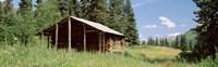 Log Cabin In A Field, Kenai Peninsula, Alaska, USA Fine Art Print