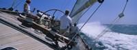 Group of people racing in a sailboat, Grenada Fine Art Print