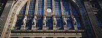 Low angle view of statues on a railroad station building, Gare Du Nord, Paris, France Fine Art Print