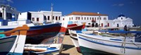 Rowboats on a harbor, Mykonos, Greece Fine Art Print