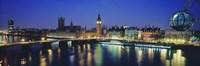 Buildings lit up at dusk, Big Ben, Houses Of Parliament, Thames River, London, England Fine Art Print