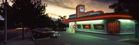 Restaurant lit up at dusk, Route 66, Albuquerque, Bernalillo County, New Mexico, USA Fine Art Print