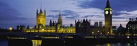 Government Building Lit Up At Night, Big Ben And The Houses Of Parliament, London, England, United Kingdom Fine Art Print