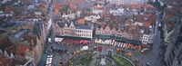Aerial view of a town square, Bruges, Belgium Fine Art Print