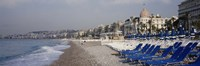 Empty lounge chairs on the beach, Nice, French Riviera, France Fine Art Print