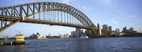 Australia, New South Wales, Sydney, Sydney harbor, View of bridge and city Fine Art Print