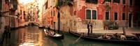 Tourists in a gondola, Venice, Italy Fine Art Print