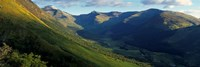 High Angle View Of Grass Covering Mountains, Stob Ban, Glen Nevis, Scotland, United Kingdom Fine Art Print