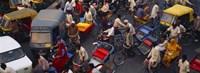 High angle view of traffic on the street, Old Delhi, Delhi, India Fine Art Print