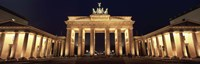 Low angle view of a gate lit up at night, Brandenburg Gate, Berlin, Germany Fine Art Print
