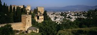 High angle view of palace with a city in the background, Alhambra, Granada, Andalusia, Spain Fine Art Print