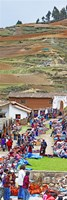 Group of people in a market, Chinchero Market, Andes Mountains, Urubamba Valley, Cuzco, Peru Fine Art Print