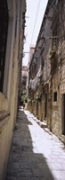 Buildings along an alley in old city, Dubrovnik, Croatia Fine Art Print