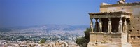 City viewed from a temple, Erechtheion, Acropolis, Athens, Greece Framed Print