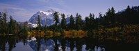 Reflection of trees and mountains in a lake, Mount Shuksan, North Cascades National Park, Washington State Fine Art Print