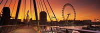 Bridge with ferris wheel, Golden Jubilee Bridge, Thames River, Millennium Wheel, City Of Westminster, London, England Fine Art Print
