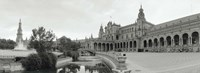 Fountain in front of a building, Plaza De Espana, Seville, Seville Province, Andalusia, Spain Fine Art Print