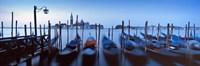 Row of gondolas moored near a jetty, Venice, Italy Fine Art Print