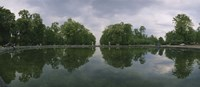 Reflection of trees in a pond, Versailles, Paris, Ile-De-France, France Fine Art Print