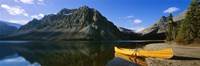 Canoe at the lakeside, Bow Lake, Banff National Park, Alberta, Canada Framed Print