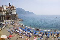 Houses on the sea coast, Amalfi Coast, Atrani, Salerno, Campania, Italy Fine Art Print