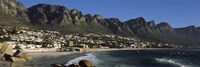 Town at the coast with a mountain range, Twelve Apostle, Camps Bay, Cape Town, Western Cape Province, Republic of South Africa Fine Art Print