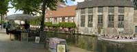 Flea market at a canal, Dijver Canal, Bruges, West Flanders, Belgium Fine Art Print