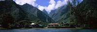 Mountains and buildings on the coast, Tahiti, French Polynesia Fine Art Print