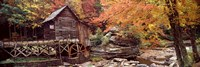Glade Creek Grist Mill with Autumn Trees, Babcock State Park, West Virginia Framed Print
