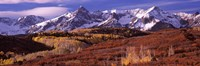 Mountains covered with snow and fall colors, near Telluride, Colorado Fine Art Print