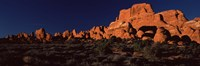Rock formations on an arid landscape, Arches National Park, Moab, Grand County, Utah, USA Fine Art Print