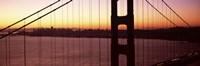 Suspension bridge at sunrise, Golden Gate Bridge, San Francisco Bay, San Francisco, California (horizontal) Fine Art Print