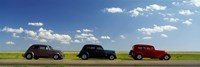 Three Hot Rods moving on a highway, Route 66, USA Fine Art Print