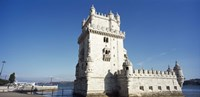 Tower at the riverbank, Belem Tower, Lisbon, Portugal Fine Art Print