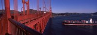 Container ship passing under a suspension bridge, Golden Gate Bridge, San Francisco Bay, San Francisco, California, USA Fine Art Print