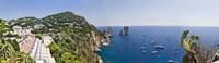 Boats in the sea, Faraglioni, Capri, Naples, Campania, Italy Fine Art Print