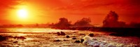 Waves breaking on rocks in the ocean, Oahu, Hawaii Fine Art Print
