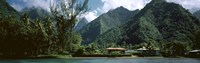 Mountains and buildings at the coast, Tahiti, Society Islands, French Polynesia Fine Art Print