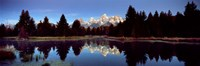 Reflection of mountains with trees in the river, Teton Range, Snake River, Grand Teton National Park, Wyoming, USA Fine Art Print
