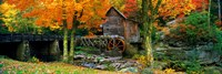 Glade Creek Grist Mill, Babcock State Park, West Virginia (bright leaves) Fine Art Print