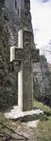 Stone cross at a castle, Bran Castle, Brasov, Transylvania, Mures County, Romania Fine Art Print
