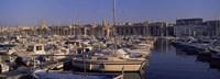 Boats docked at a harbor, Marseille, Bouches-Du-Rhone, Provence-Alpes-Cote d'Azur, France Fine Art Print