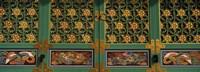 Paintings on the door of a Buddhist temple, Kayasan Mountains, Haeinsa Temple, Gyeongsang Province, South Korea Fine Art Print